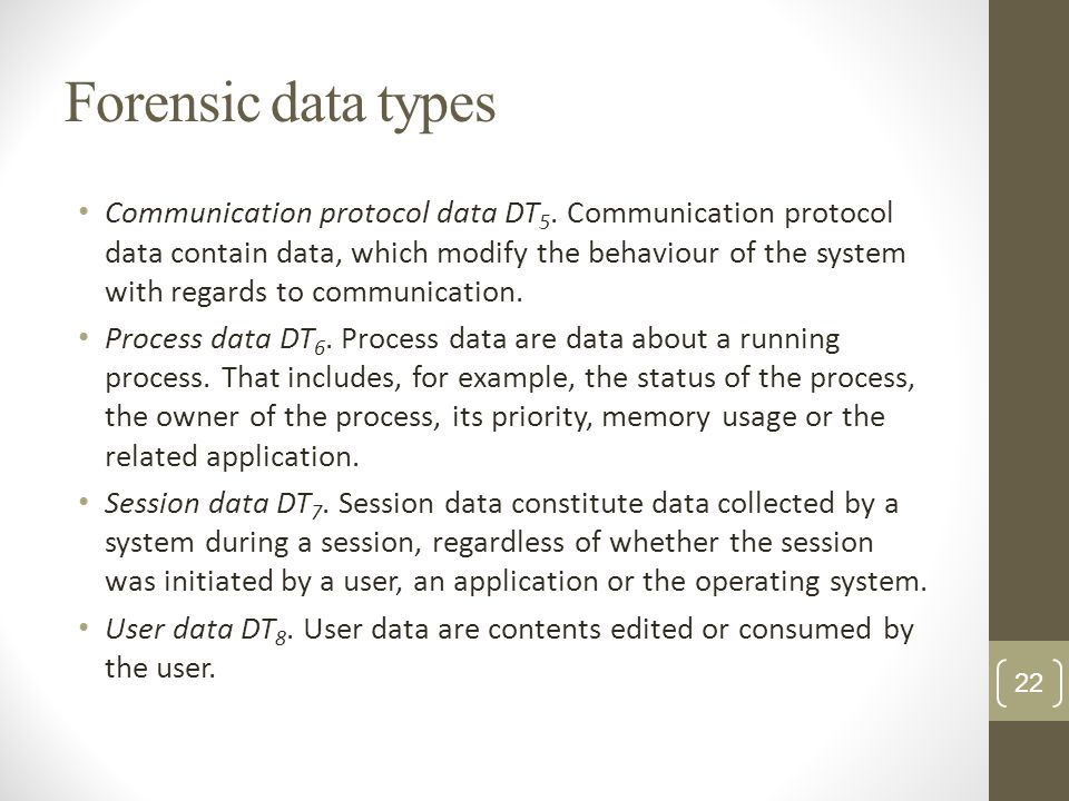 Forensic data types