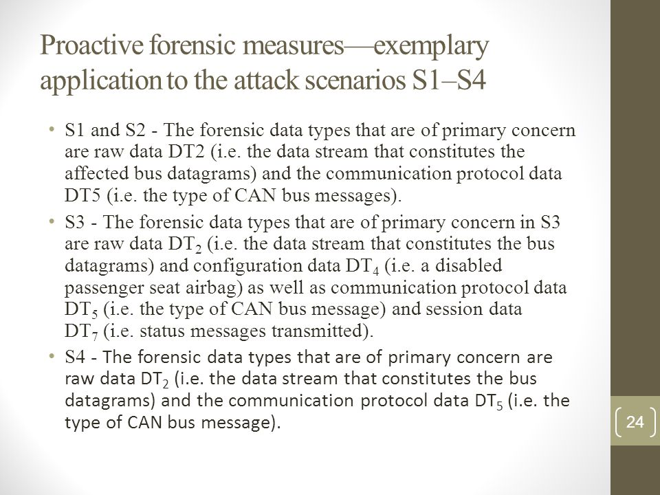 Proactive forensic measures—exemplary application to the attack scenarios S1–S4