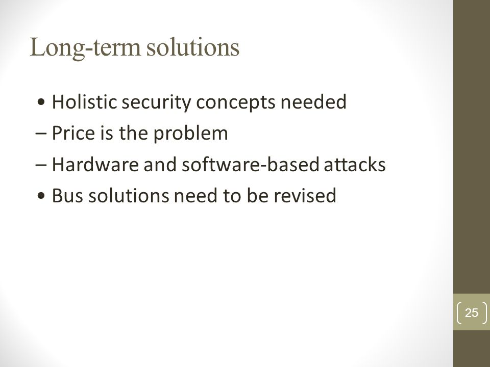 Long-term solutions