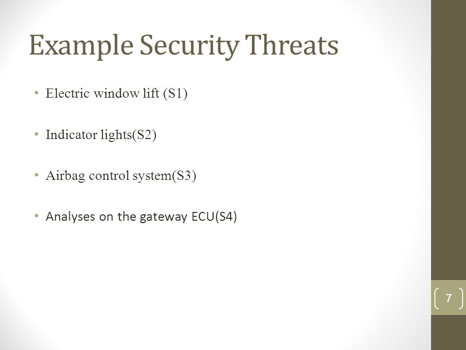 Example Security Threats