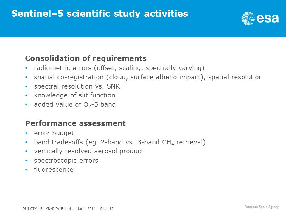 Sentinel–5 scientific study activities