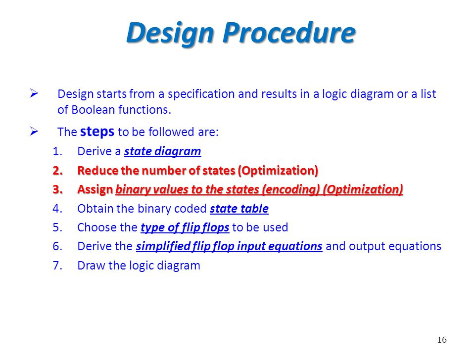 Design Procedure Design starts from a specification and results in a logic diagram or a list of Boolean functions.