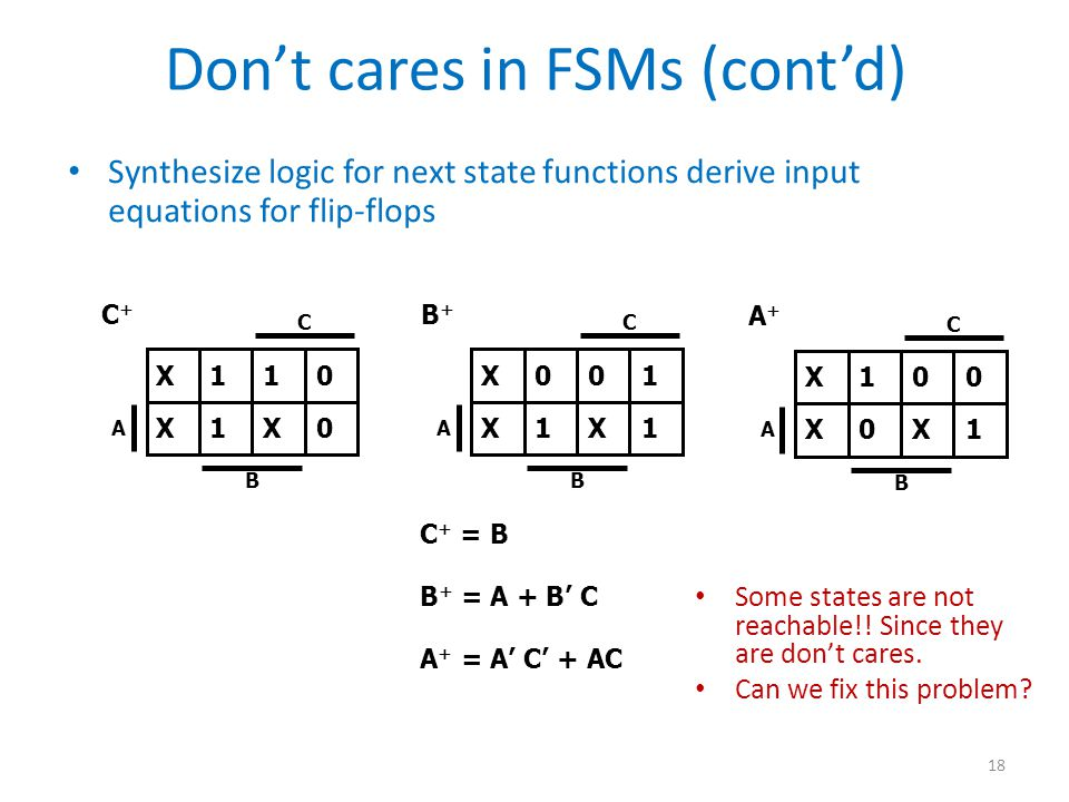 Don't cares in FSMs (cont'd)