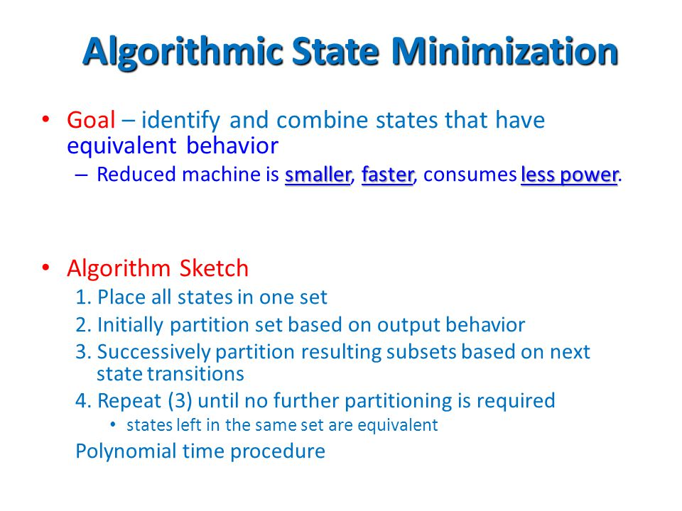 Algorithmic State Minimization
