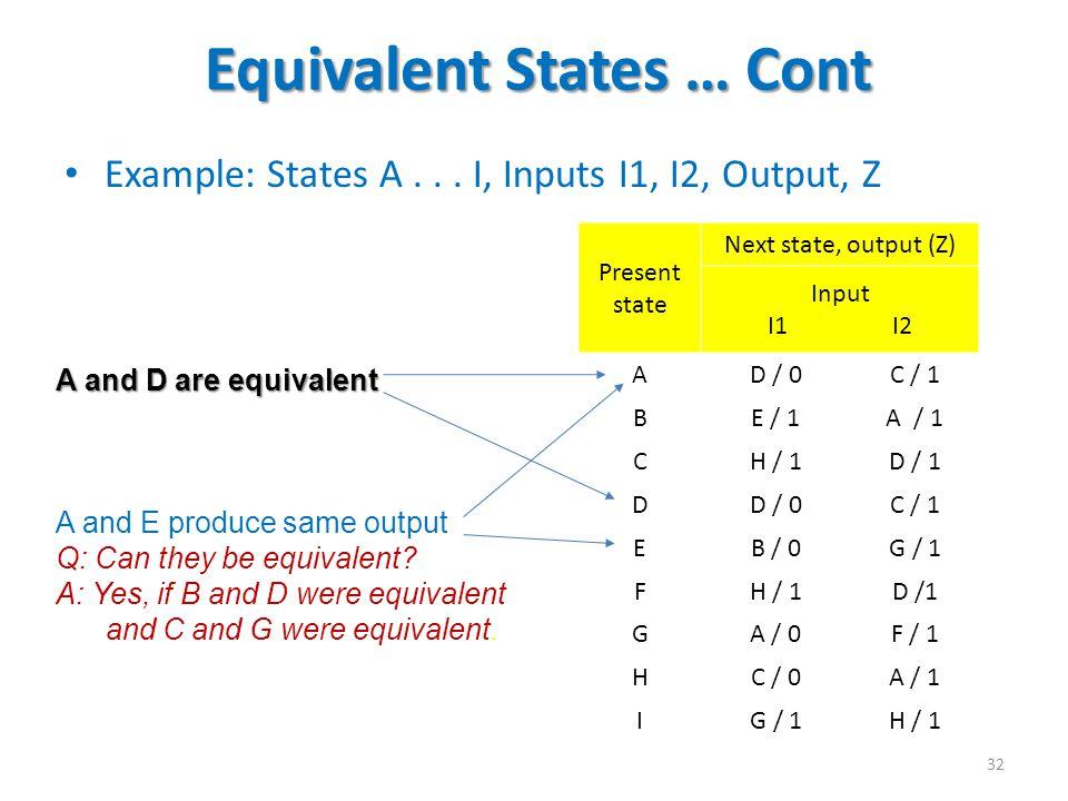 Equivalent States … Cont