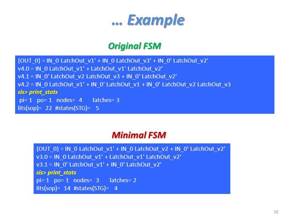 … Example Original FSM Minimal FSM