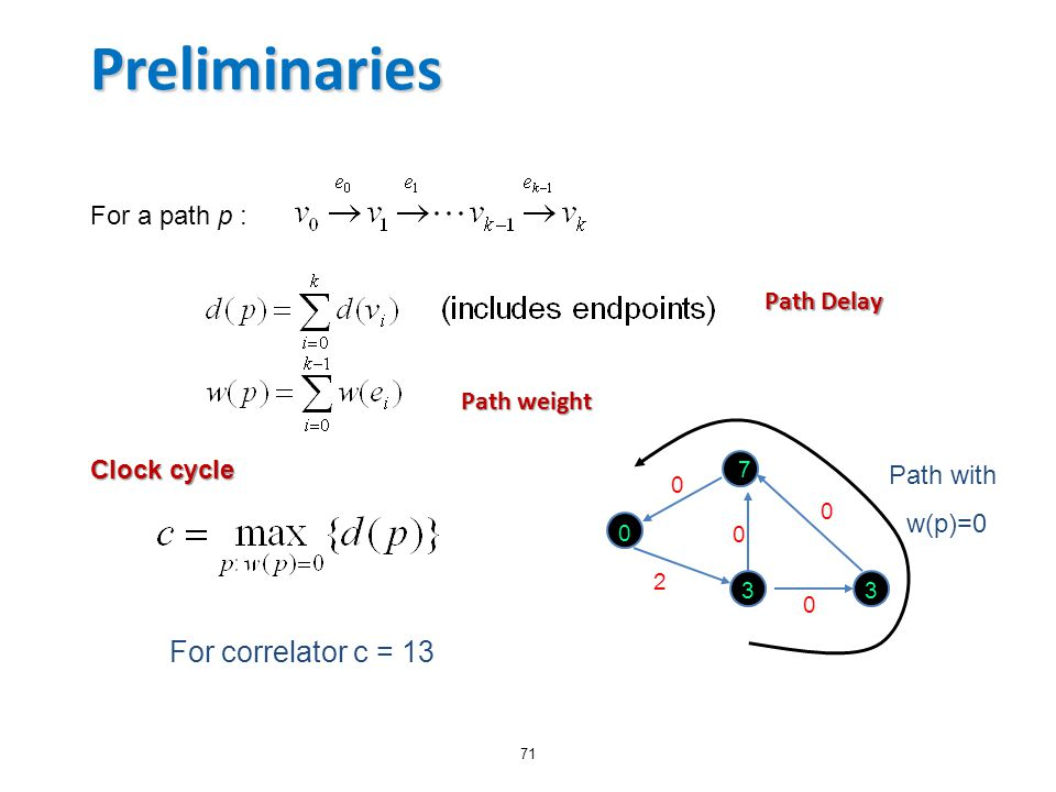Preliminaries For correlator c = 13 For a path p : Path Delay