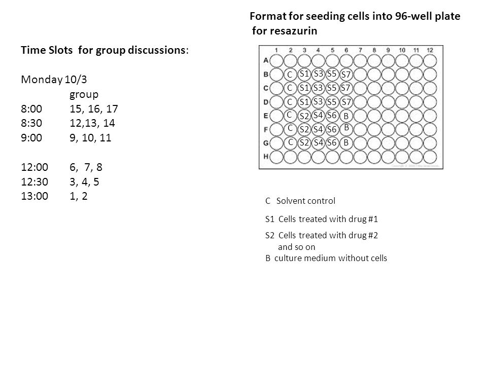 Format for seeding cells into 96-well plate for resazurin