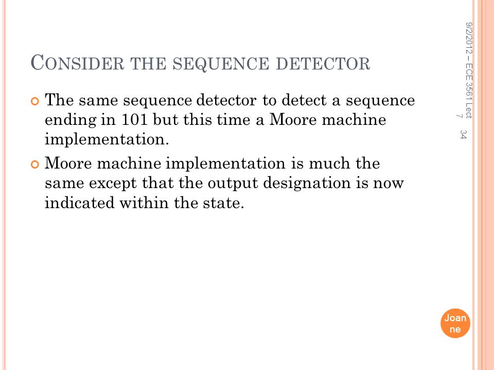 Consider the sequence detector