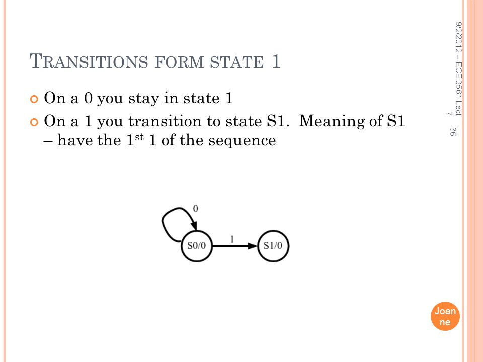 Transitions form state 1