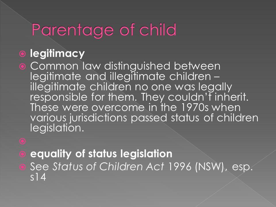Parentage of child legitimacy