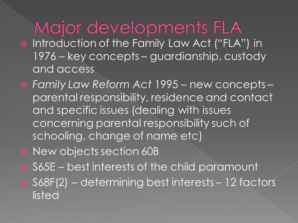 Major developments FLA