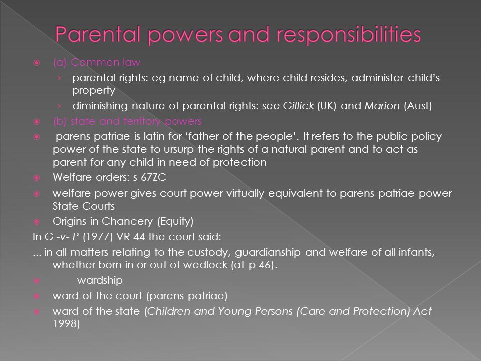 Parental powers and responsibilities