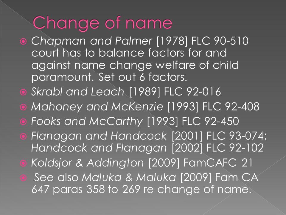 Change of name
