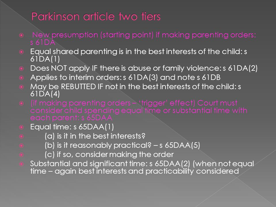Parkinson article two tiers