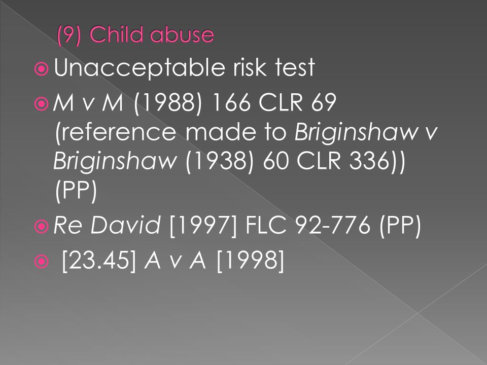 Unacceptable risk test