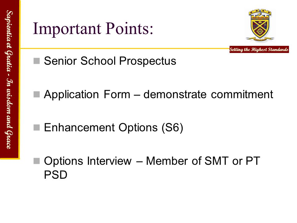Important Points: Senior School Prospectus