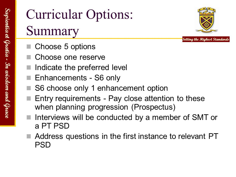 Curricular Options: Summary