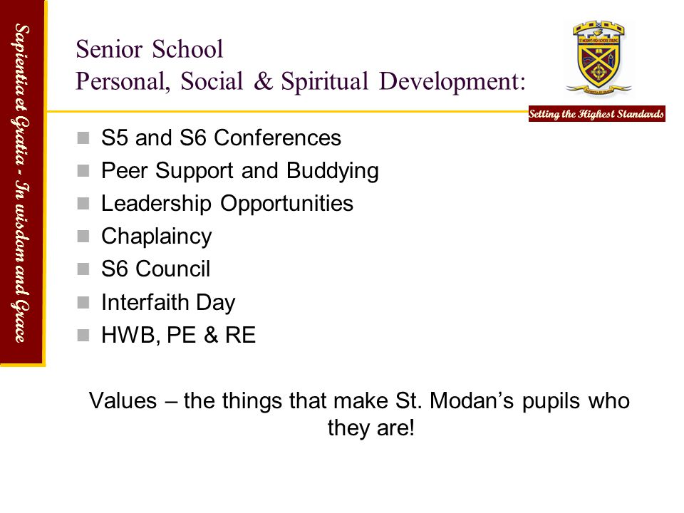 Senior School Personal, Social & Spiritual Development: