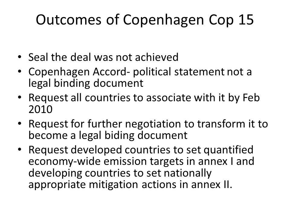 Outcomes of Copenhagen Cop 15