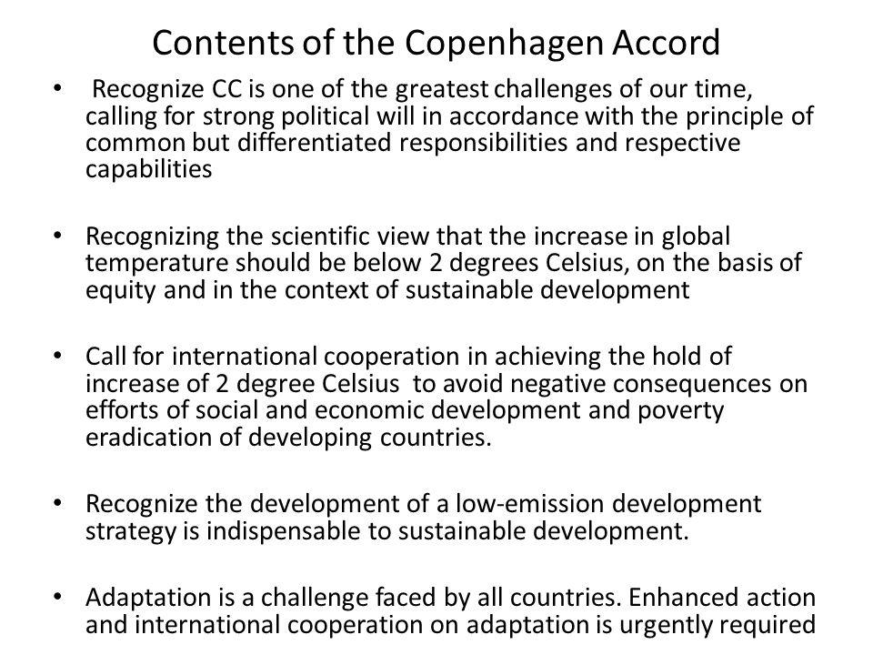 Contents of the Copenhagen Accord