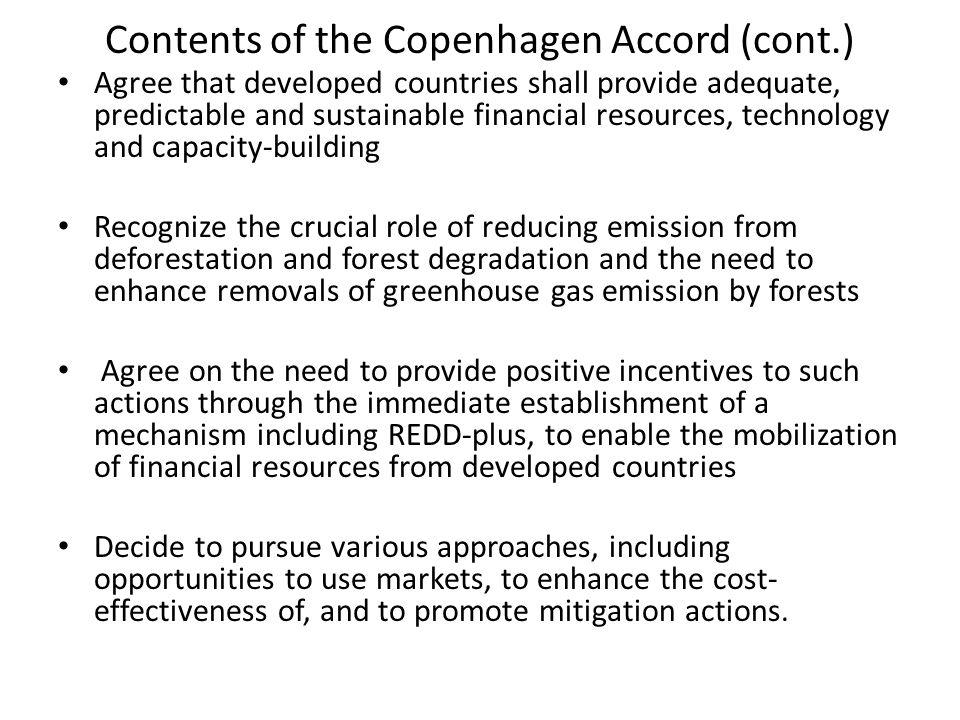 Contents of the Copenhagen Accord (cont.)