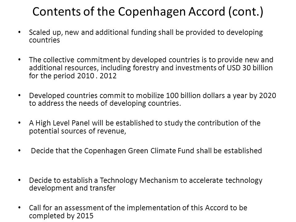 Contents of the Copenhagen Accord (cont.)