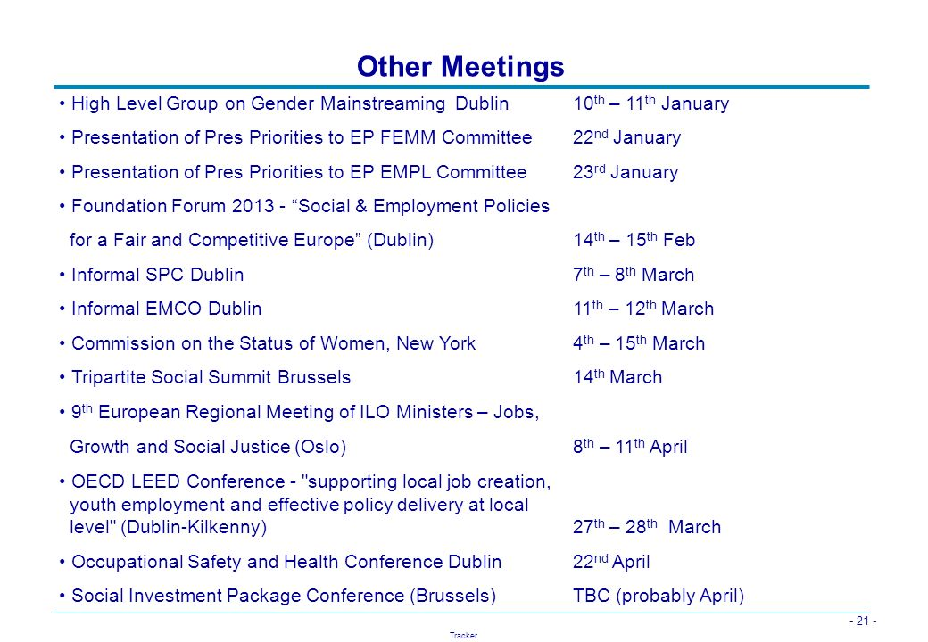 Other Meetings High Level Group on Gender Mainstreaming Dublin 10th – 11th January.