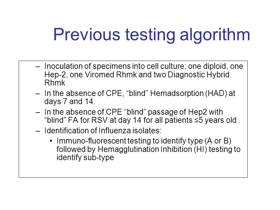 Previous testing algorithm