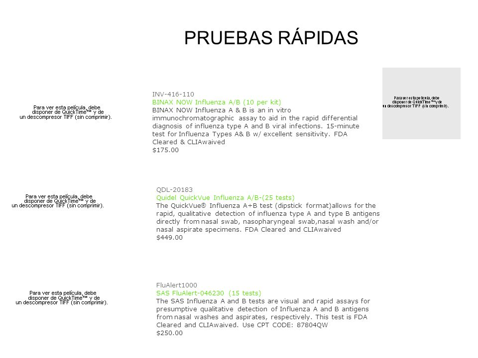 PRUEBAS RÁPIDAS INV-416-110 BINAX NOW Influenza A/B (10 per kit)
