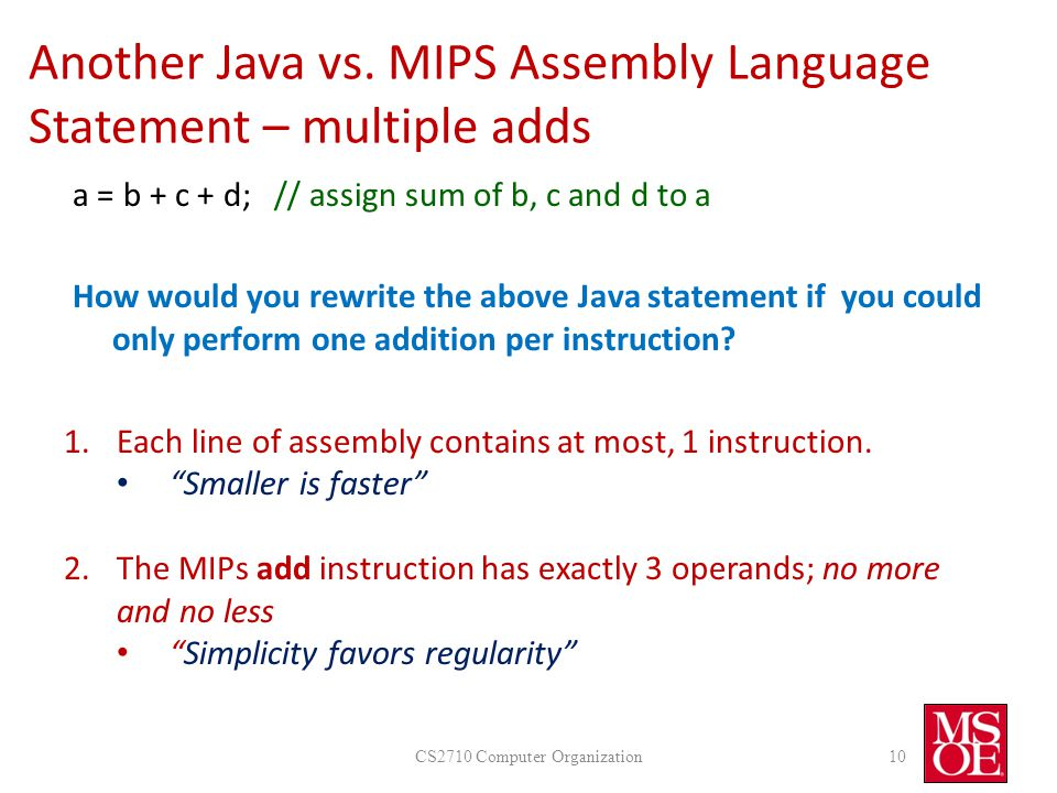 Another Java vs. MIPS Assembly Language Statement – multiple adds