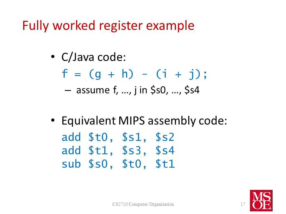 Fully worked register example