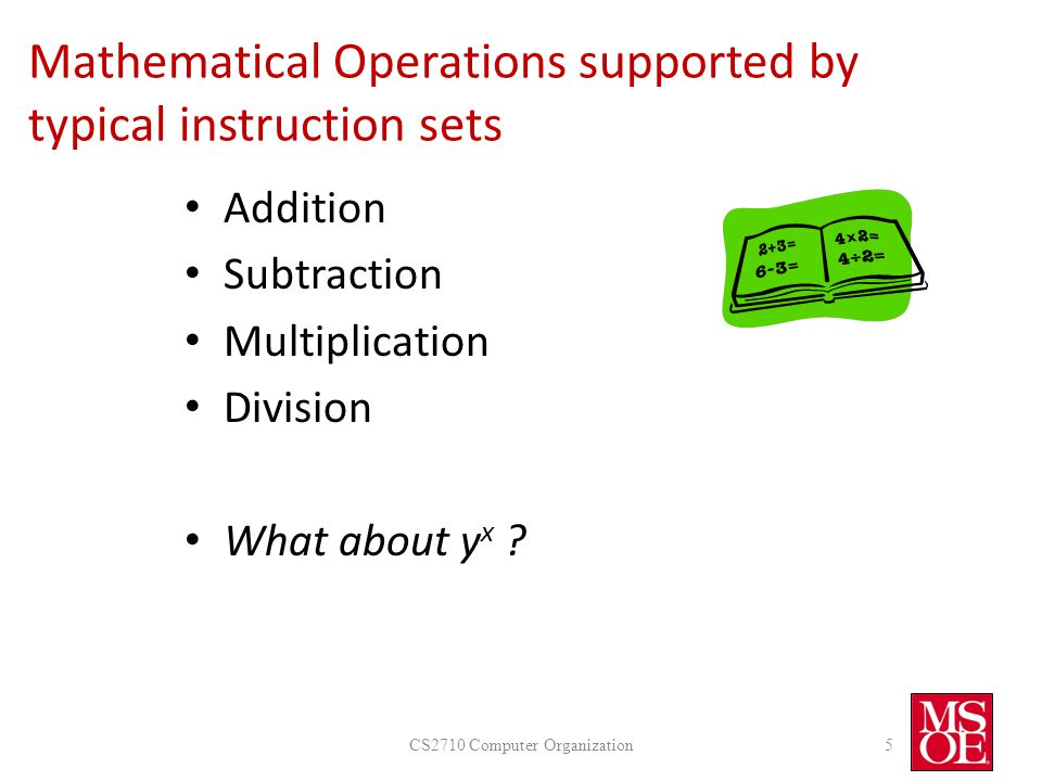 Mathematical Operations supported by typical instruction sets