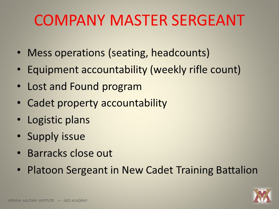 COMPANY MASTER SERGEANT