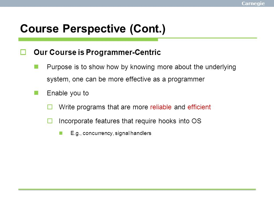 Course Perspective (Cont.)