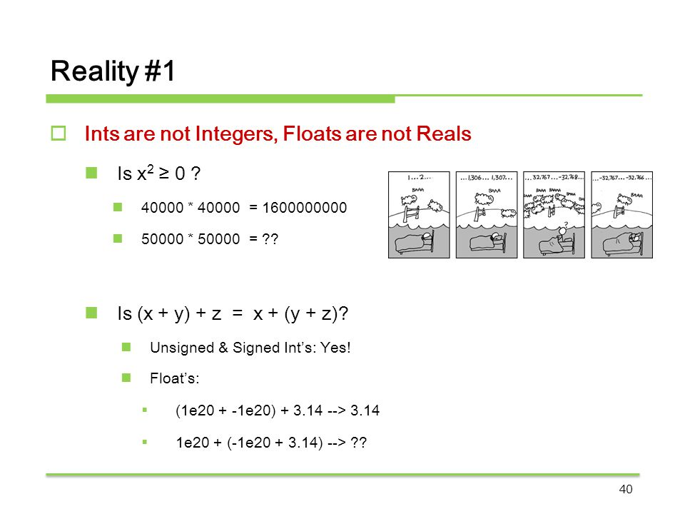 Reality #1 Ints are not Integers, Floats are not Reals Is x2 ≥ 0