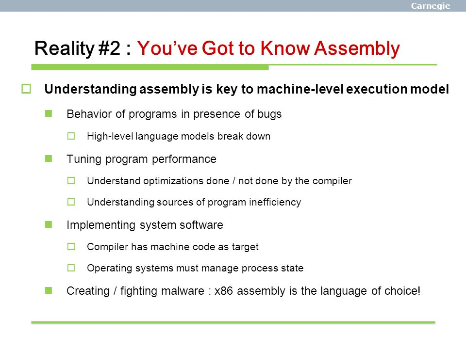 Reality #2 : You've Got to Know Assembly