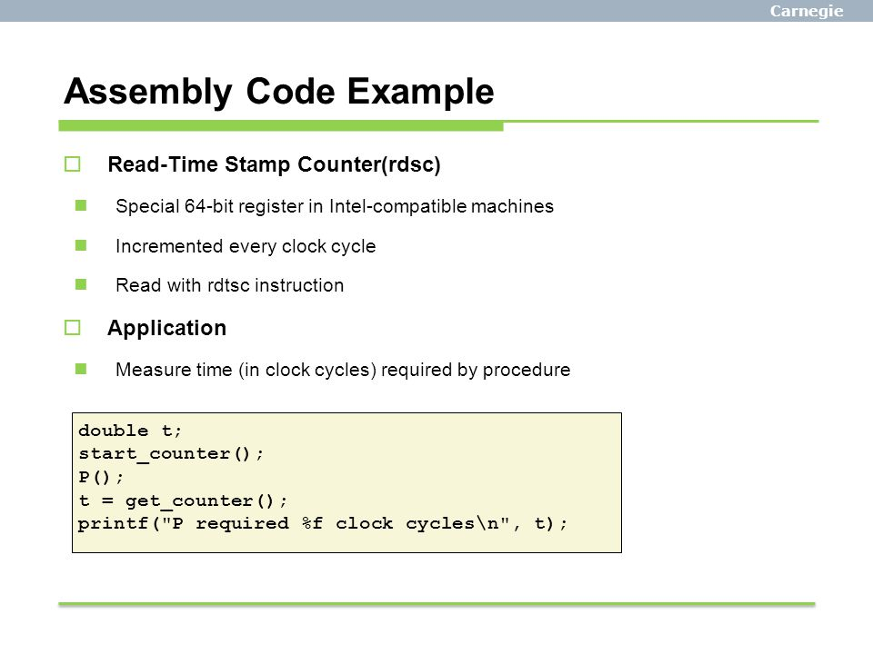 Assembly Code Example Read-Time Stamp Counter(rdsc) Application