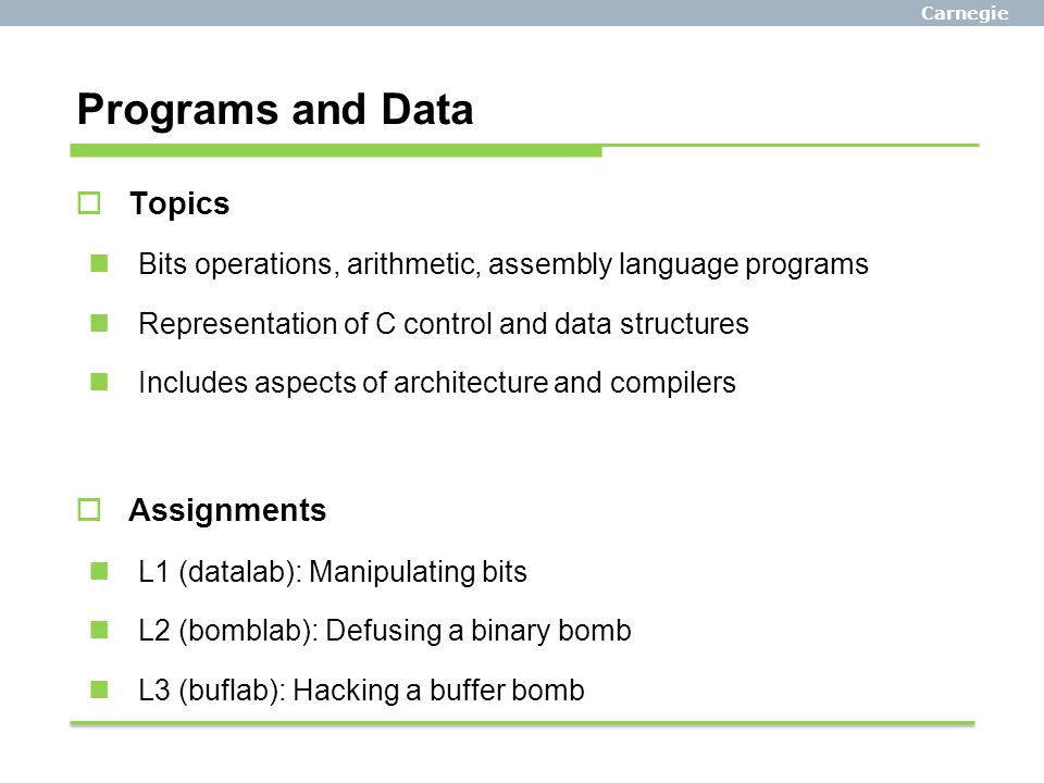 Programs and Data Topics Assignments
