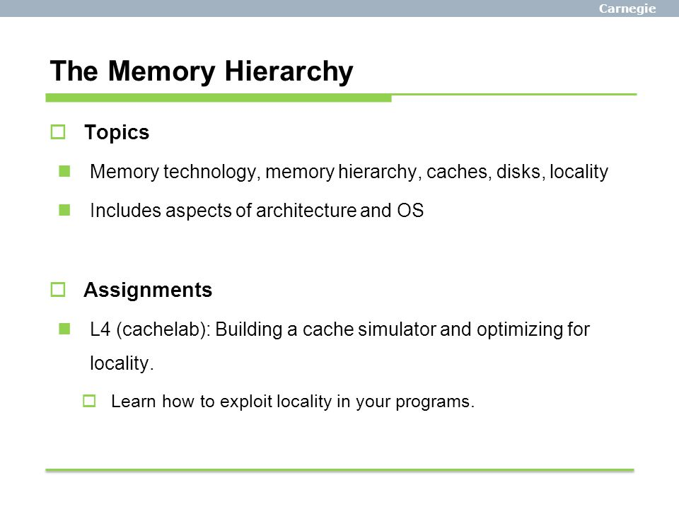 The Memory Hierarchy Topics Assignments