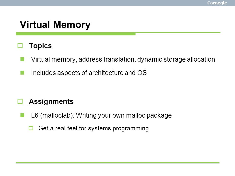 Virtual Memory Topics Assignments