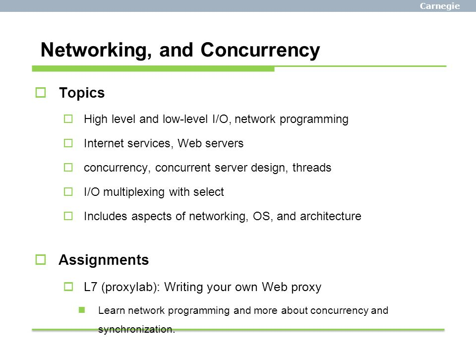 Networking, and Concurrency