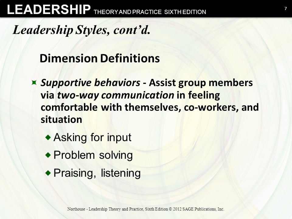 Leadership Styles, cont'd.