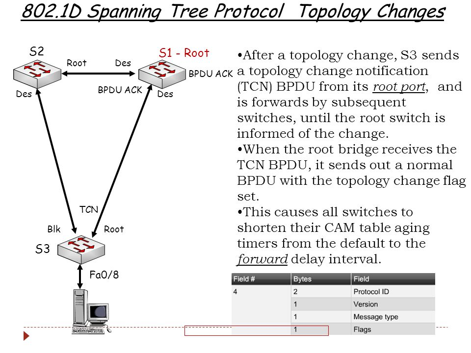 802.1D Spanning Tree Protocol Topology Changes