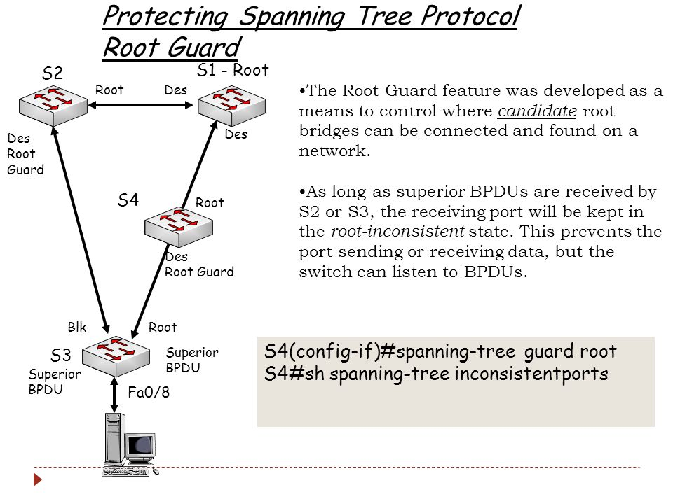 Protecting Spanning Tree Protocol Root Guard