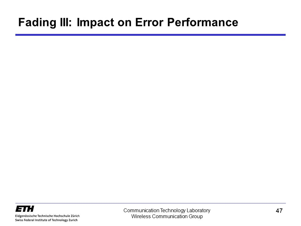 Fading III: Impact on Error Performance