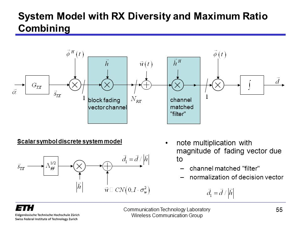 System Model with RX Diversity and Maximum Ratio Combining