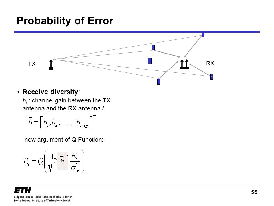 Probability of Error TX. RX. Receive diversity: hi : channel gain between the TX antenna and the RX antenna i.