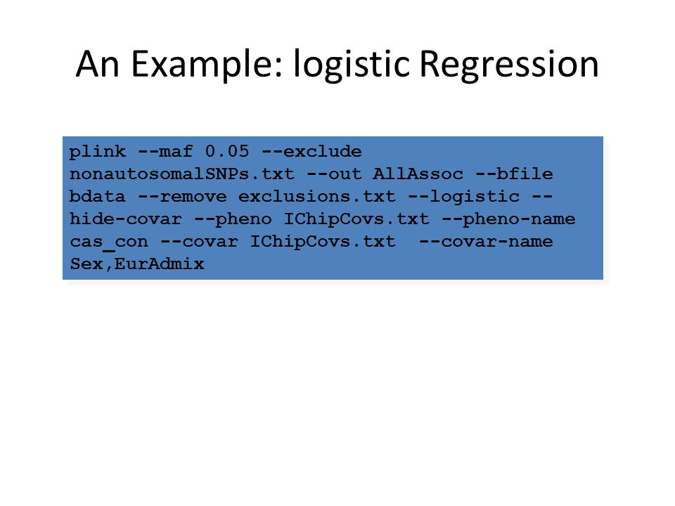 An Example: logistic Regression
