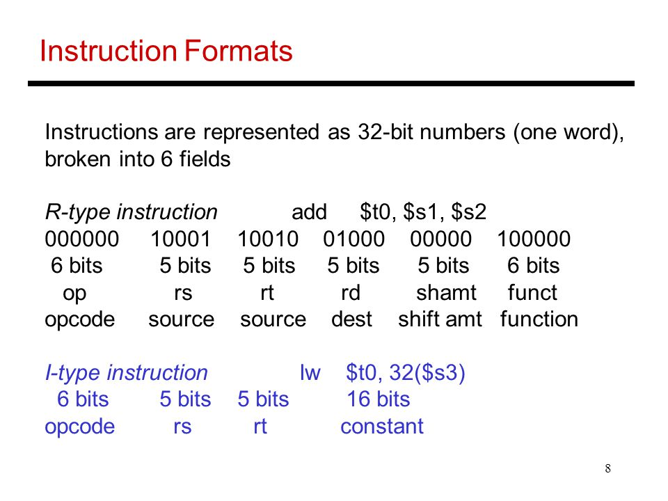 Instruction Formats Instructions are represented as 32-bit numbers (one word), broken into 6 fields.